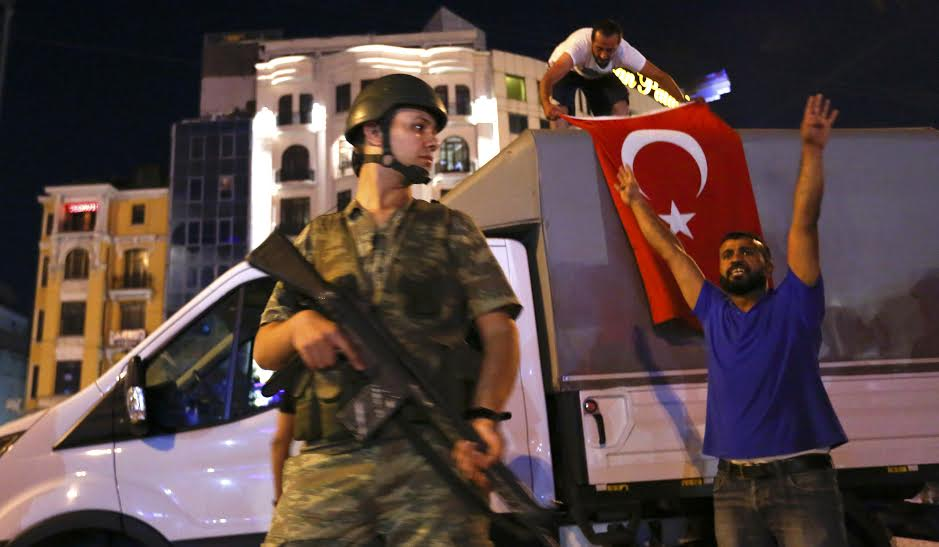 People demonstrate at the Taksim Square in Istanbul, Turkey, July 16, 2016. REUTERS/Murad Sezer
